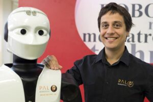 PAL Robotics CEO, Francesco Ferro with one of his cutting-edge, innovative humanoid robots