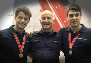 Elias Kalt with his top trainee Riccardo Bieler (left) and Remo Cadonau.
